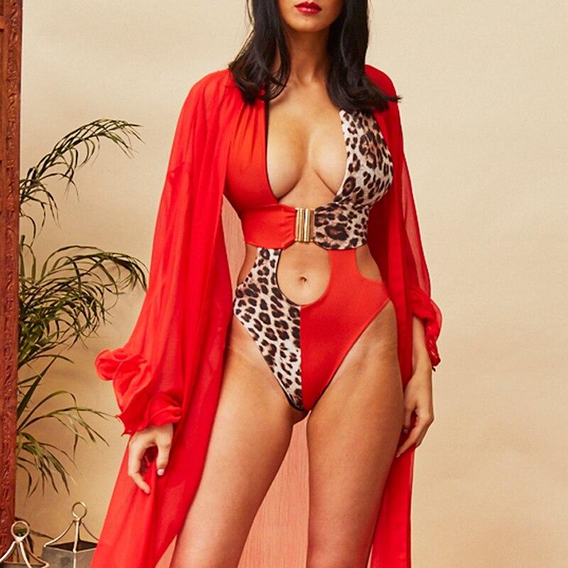 Splice buckle bikini mujer monokini Sexy female swimsuit one piece High cut bathing suit women bathers Push up swimwear 2019 new