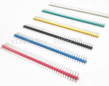 120Pcs Multicolor 2.54mm 40Pin Male Single Row Pin Header Strip 6-Color for Arduino DIY Gold-plated High-quality