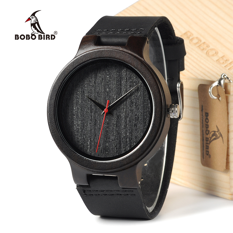 BOBOBIRD EC22 Top Quality Men's Black Sandal Wood Watches Luxury Brand Design Men's Dress Watches With Geniune Leather Bands bobobird bbm027 men s red sandal wood watches men cool quartz wristwatches with leather bands in gift box design