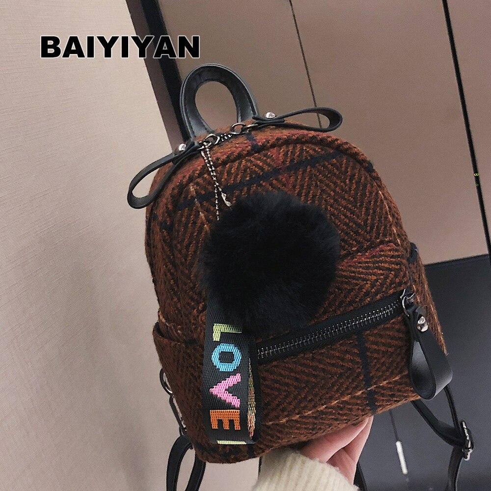 Cute Lady Woolen Backpack Female Small Backpacks For Teenage Girls Rucksack Sac a dos Women Shoulder bag