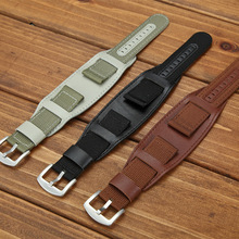 Nylon Sweatband Watchband Leather Strap 18mm 20mm 22mm 24mm  Stainless Steel Buckle Pulseira Relogio Correa Reloj
