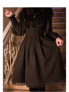 Image 2 - 2018 Women Classic Lolita Skirt Vintage Style Retro Gothic Darkness Lace Up High Waist A Line Chapel Church Formal Skirts Black