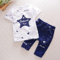 2017 New Fashion Cotton Baby Boy Clothing Star Prints Summer Short Sleeve+Pants 2pcs Baby Set Newborn Infant Girl Clothing