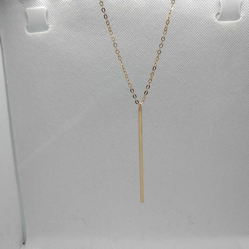 Prosty pasek długi naszyjnik kobiety biżuteria srebrny złoty łańcuch drążek metalowy wisiorek naszyjniki moda biżuteria łańcuchy dziewczyny prezenty