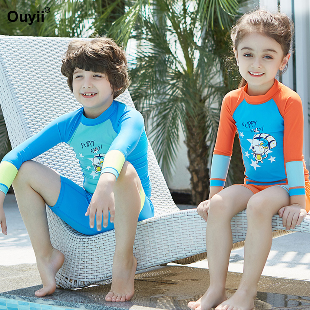 87c55b0bc5 2018 Summer Kids Swimsuit Rash Guards Swimwear Sunscreen Diving Suit  Children Surf Swimming Suit Wetsuit Two Piece Bathing Suit