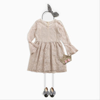 Children S Lace Speaker Sleeves Princess Dress Girls Children S School Children S Wear Dress Fall