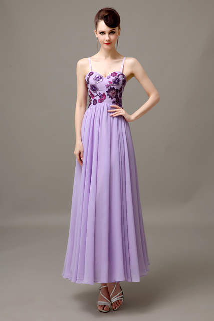 Nice Lilac Spaghetti Straps Long Cheap Applique Discount Chiffon Bridesmaid Dress  Wedding Guest Dress For Bridesmaid Plus
