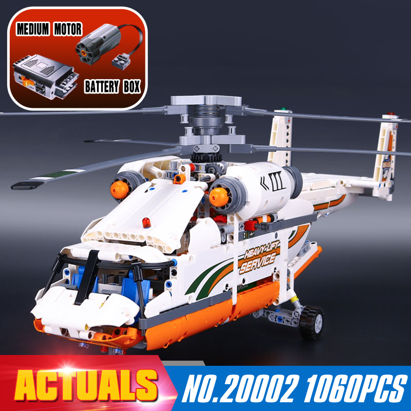 ФОТО NEW LEPIN 20002 technic series 1060pcs Double rotor transport helicopter Model Building blocks Bricks Compatible 42052 Boy toys
