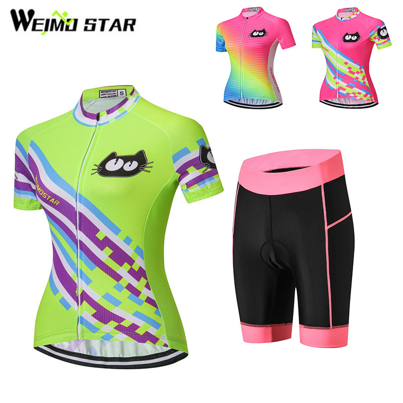 Cat Shirt Cycling Jersey WEIMOSTAR Women cycling clothing maillot ciclismo Racing Clothing Wear Breathable Pad Shorts Suit