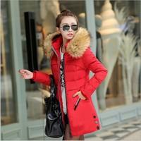 Largo invierno cálido abrigo de algodón outwear ocasionales femeninos de algodón acolchado abajo chaqueta grande cuello de piel con capucha cremallera del color del caramelo abajo chaqueta