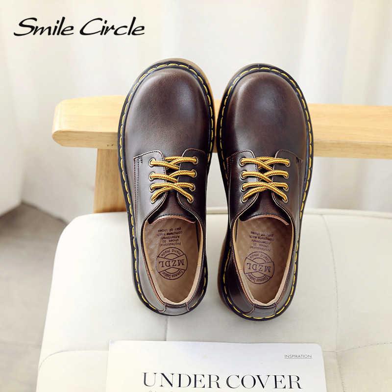 Туфли-оксфорды на плоской подошве со смайликом; женская обувь из натуральной кожи; Осенняя обувь на платформе в стиле ретро; удобная повседневная женская обувь
