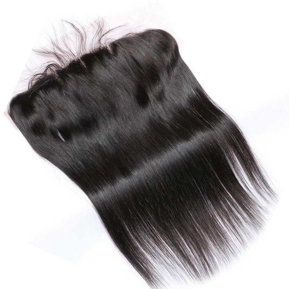 Luwin 28 30 40 дюймовые бразильские волосы плетение 3 4 пучка с 13x4 синтетический фронтальный закрытие необработанные девственные прямые 100% человеческих волос наращивание