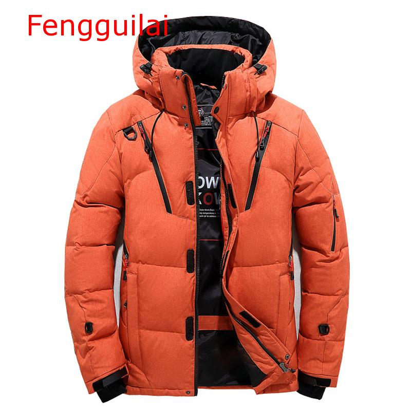 High Quality Winter Jacket Men Hooded Thick Warm Duck Down   Parka   Coat Casual Slim Down Mens Overcoat Many Pockets