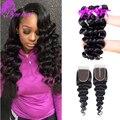 Eurasian Virgin Hair Loose Wave 3 Bundles With 4X4 Lace Closure Lace Closure with 3 Bundles Eurasian Human Hair With Closure