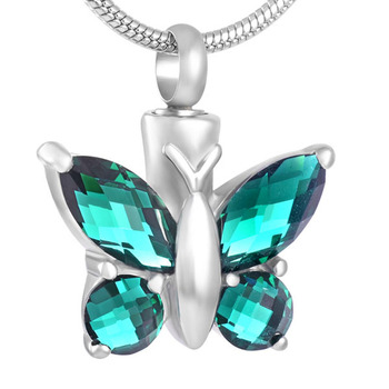 IJD8497 Wholesale Women Stainless Steel Luxury Rhinestone Butterfly Feather Cremation Jewelry for Ashes Pendant Necklace