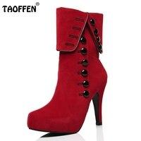 Femmes Mi-mollet Bottes Talons 2016 Hiver Botas Rouge À Talons Hauts Chaussures Plate-Forme En Daim Femme Bottes Chaussures Femmes Taille 35-39