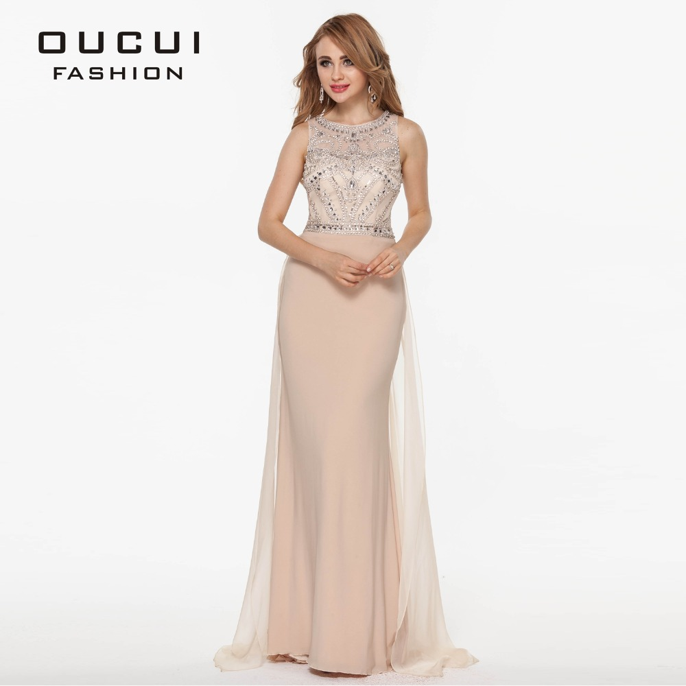 2019 Nude Tulle Jersey Chiffon Long Prom Dresses See Through Back Beading Handwork Evening Dress Robe