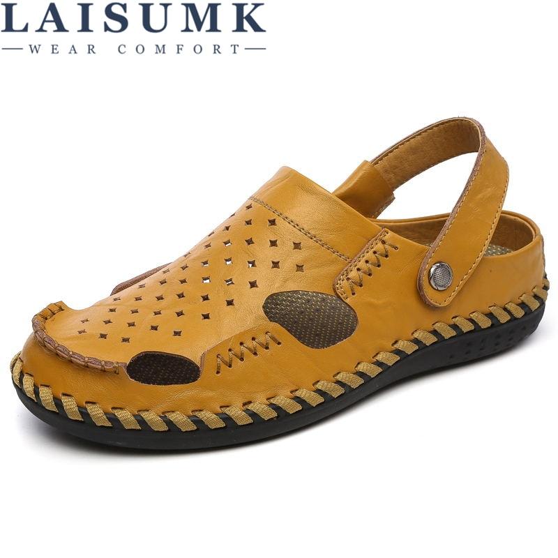 LAISUMK Brand Genuine cow leather casual Sandals men shoes Fashion Summer men Shoes rubber sole Beach Flip flops man air vent