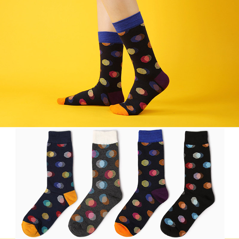 New Combed Cotton Brand Men Socks Colorful Polka Dot Colorful Dress Socks Male Fun Wedding Socks