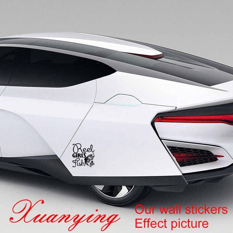 Décalcomanies de vinyle de poissons de filles de bobine de taille réelle avec la basse pour la voiture de pêche style drôle autocollant de voiture de pare-chocs de suv de moto