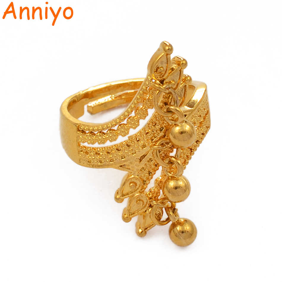 Anniyo Resizable Ring for Women Dubai Jewelry With Ball Ethiopian Gold Color Wedding Gifts African Ring Openable #197106