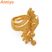 Anniyo Resizable Ring for Women Dubai Jewelry With Ball Ethiopian Gold Color Wedding Gifts African Ring Openable #197106(China)