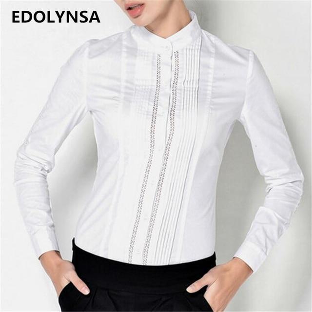 14afd6d2854ed0 Wit Kant Lange Mouwen Blusas Mode Katoen Vrouwen Body Blouse Shirt Elegante  Tops Vrouwelijke Tuniek Blouses