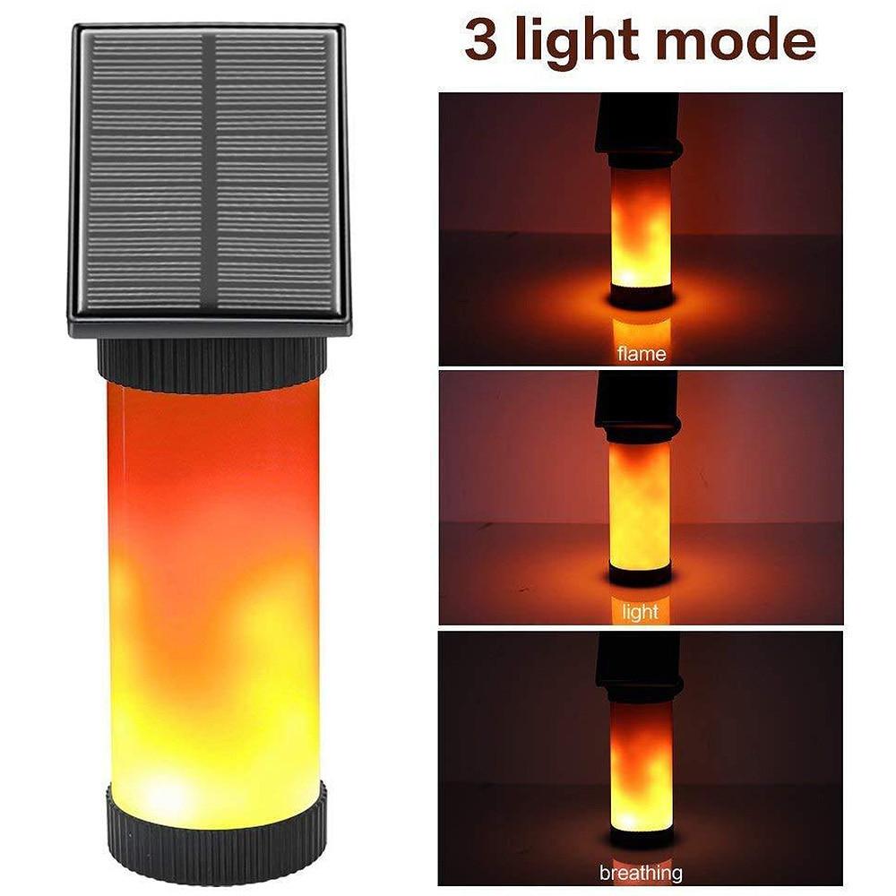 Creative Solar Lamp LED Solar Powered Flickering Fire Flame Wall Light For Garden Decor Waterproof Outdoor Landscap Lighting