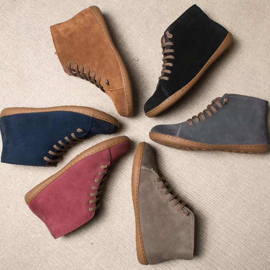 Kadın Kış Kar Botları Hakiki deri Ayak Bileği Yay düz ayakkabı kadın Kısa Kahverengi Çizmeler Kürk 2019 kadınlar için dantel up çizmeler