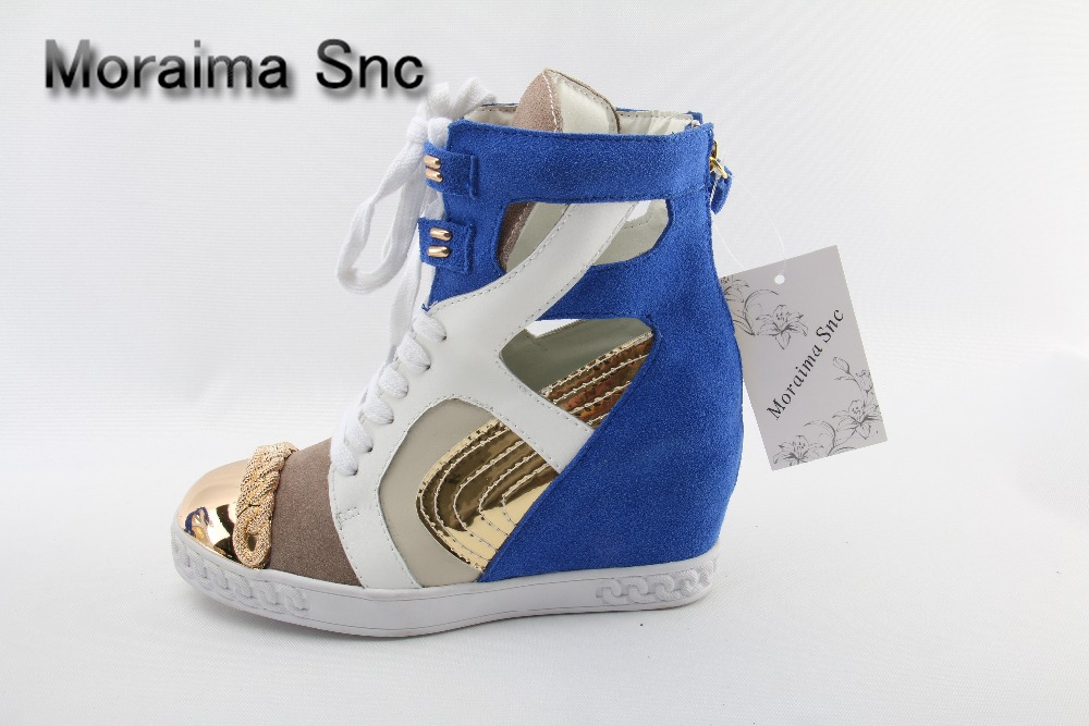 Moraima Snc brand sneakers female summer black pink sexy cut-out zapatillas mujer casual metal round toe height increasing shoes pink cut out