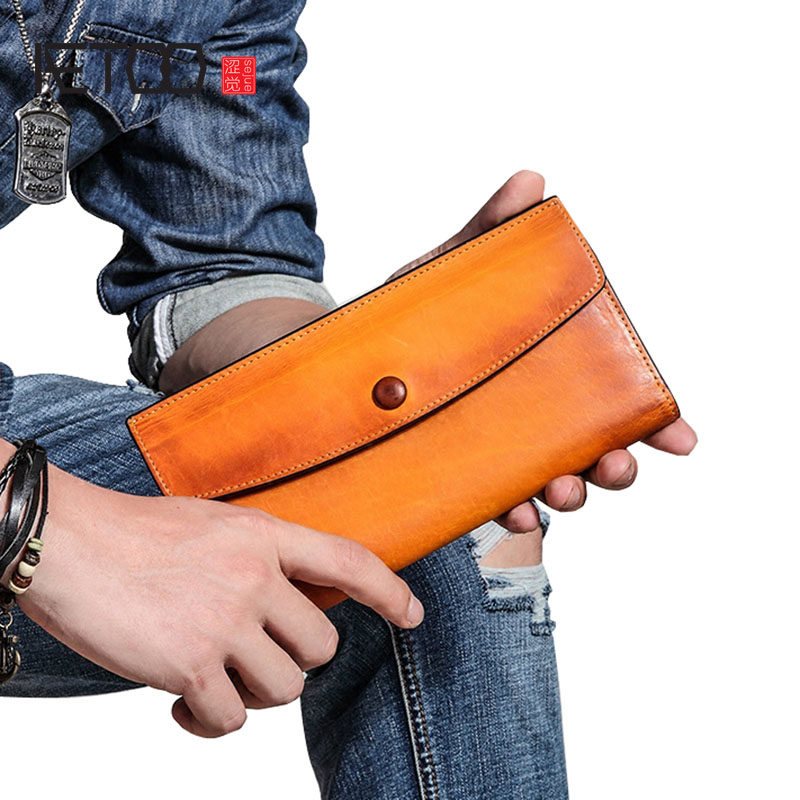 AETOO Envelope wallet long section leather men's clutch bag leather Japan and South Korea youth wallet multi-card large capacity