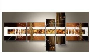 Ручная роспись золотая линия цвет абстрактный пейзаж картина маслом на холсте картина для гостиной 5 шт./компл