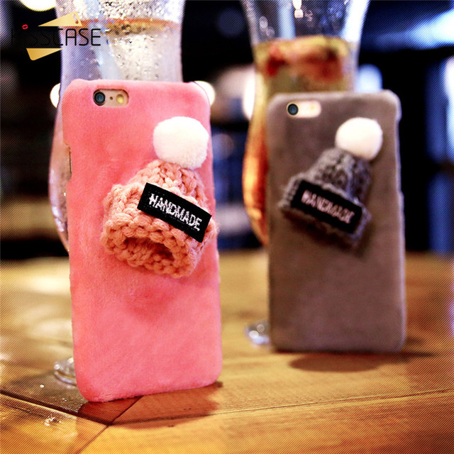 Plush Knitted Winter Hat Case for iPhone 5 6 7 Plus