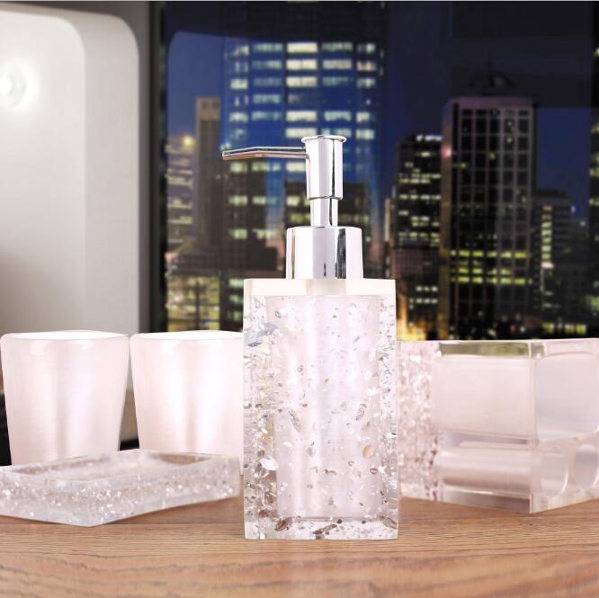 Haut de gamme résine salle de bains série salle de bain ensemble accessoires glace cristal diamant savon plat tasse Lotion bouteille lavage tasse cadeau de mariage - 4