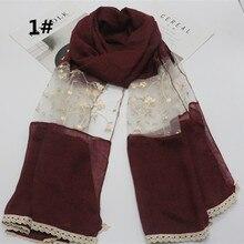 Высокое качество, модный хлопковый разноцветный длинный шарф 180*73 см, кружевной лоскутный однотонный мусульманский хиджаб