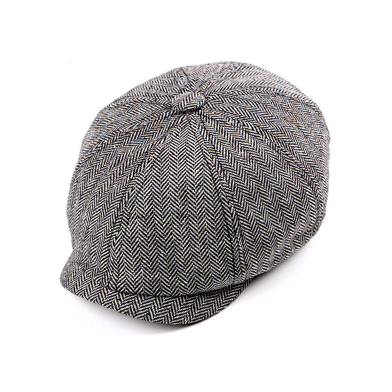 2019 New Newsboy Cap Beret Hat Men Women  Hat Tweed Gatsby Octagonal Black White Herringbone Vintage Ivy Hats