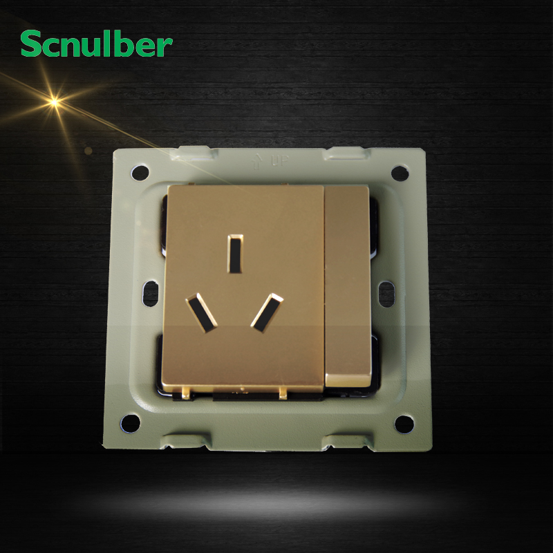 16a 3pin 3p Outlet 1 Gang 2 Way Metal Hairline Finish Wall
