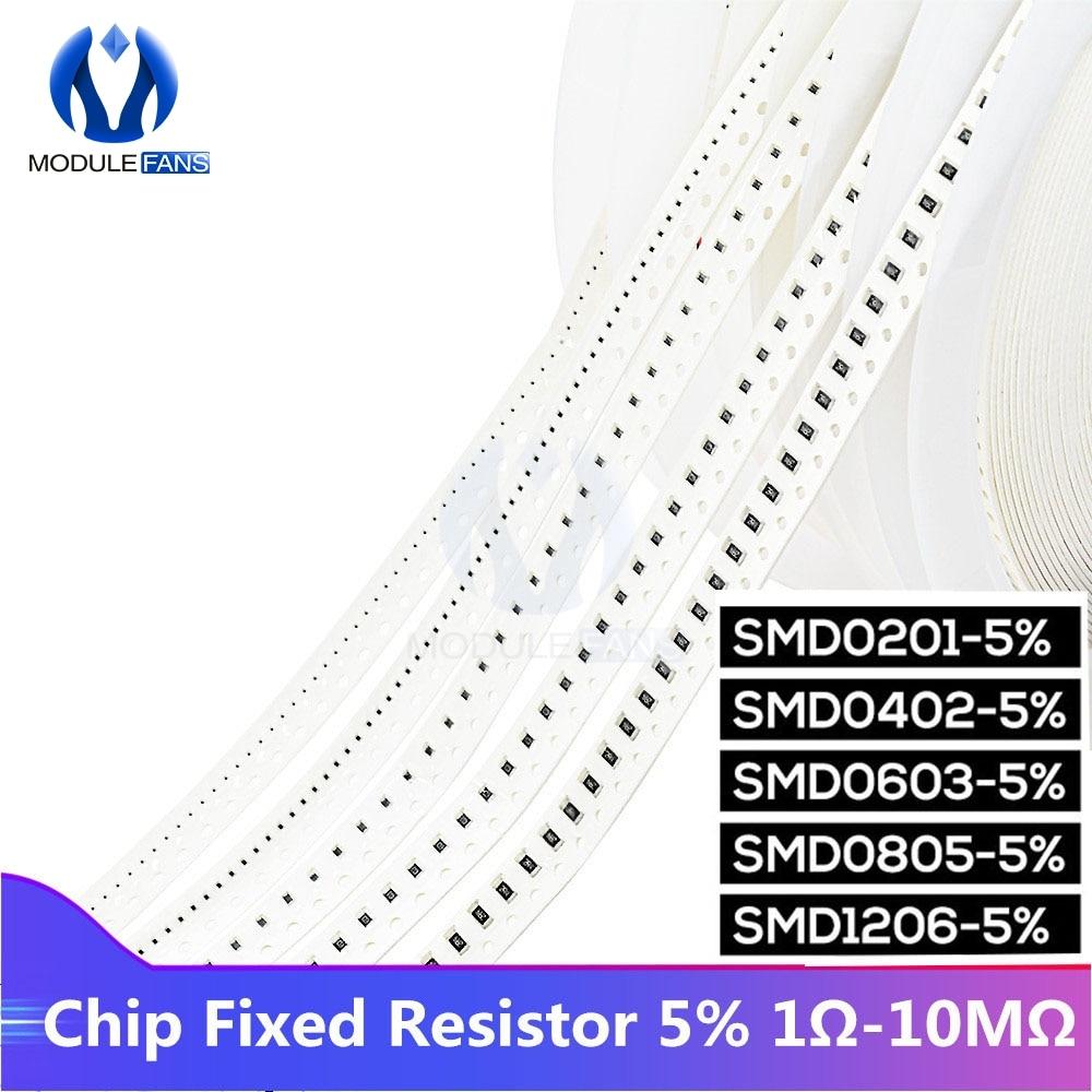 1700 stücke Chip Fixed Resistor SMD0201 SMD0402 SMD0603 SMD0805 SMD1206 Resistor Assorted Kit 1ohm-10Mohm Diy Elektronische Dicken Film