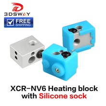 FreeShipping 3DSWAY 3D Printer Part XCR-NV6 Heating Block with Silicone Sock 0.4mm Nozzle E3D V6 Hotend DIY Kit Heated Block 1pc