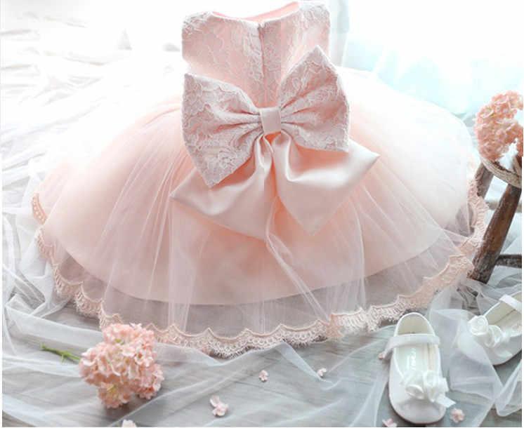 Thanh lịch Cô Gái Ăn Mặc Cô Gái Mùa Hè 2018 Thời Trang Màu Hồng Ren Lớn Bow Đảng Tulle Hoa Công Chúa Váy Cưới Bé Cô Gái ăn mặc