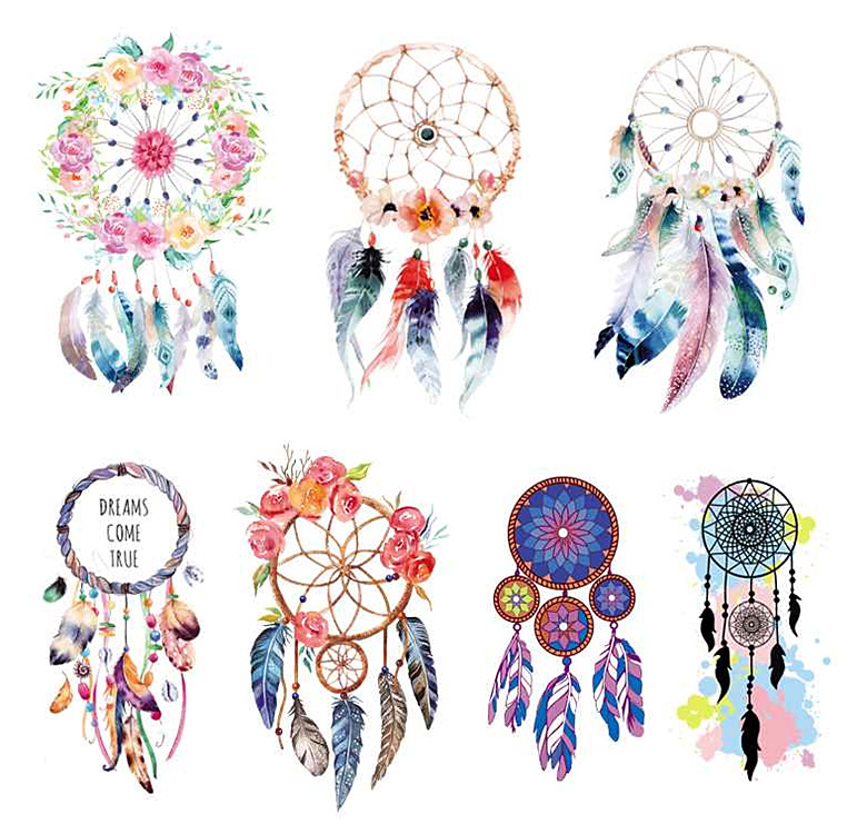 2019 New Dress DIY Hot Transfer Printing 3D Creative Personality Ironing Wind Chimes Feathers Ke Type Hot Pattern Stickers