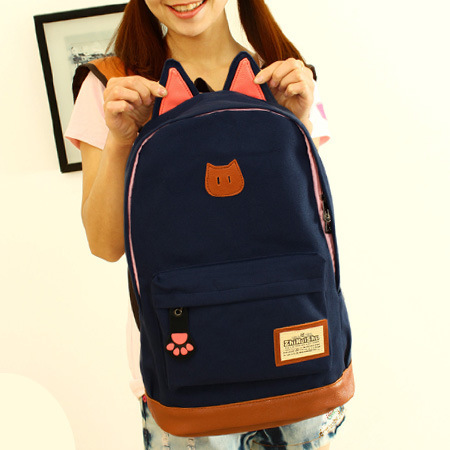New fashion cat ears canvas printing backpack school bags for teenage girls cute book bags women school backpack