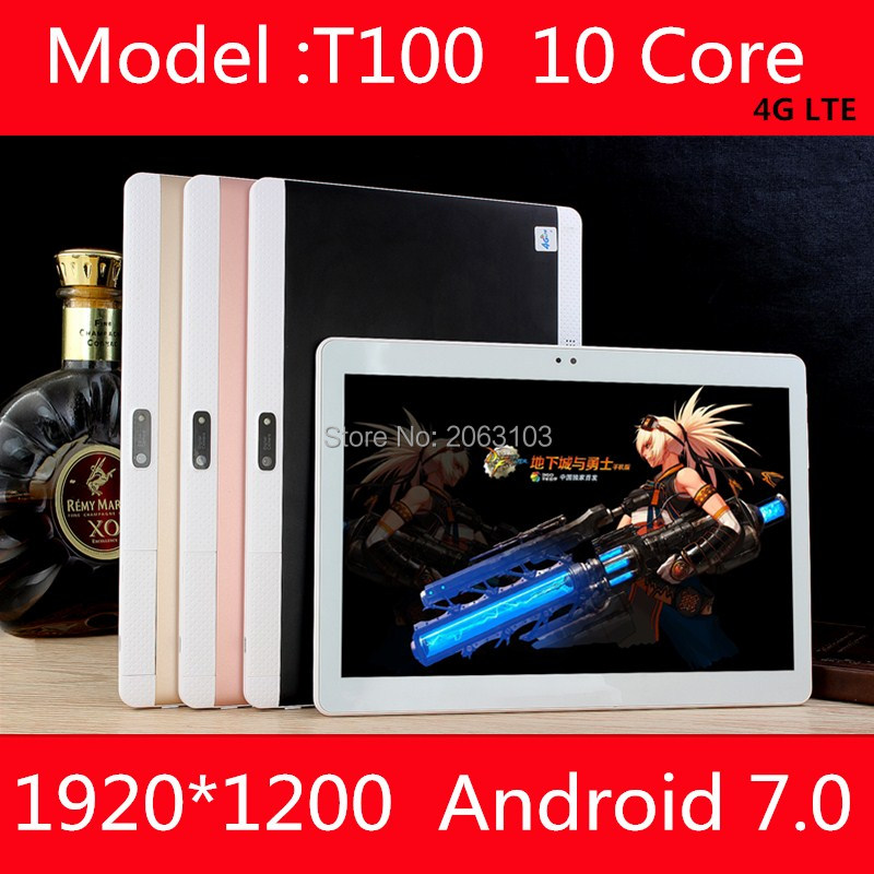 Free Shipping T100 Deca Core 10'' Android 7.0 10 Tablet PC 4GB RAM 64GB ROM 1920*1200 IPS Screen 8.0Mp Camera