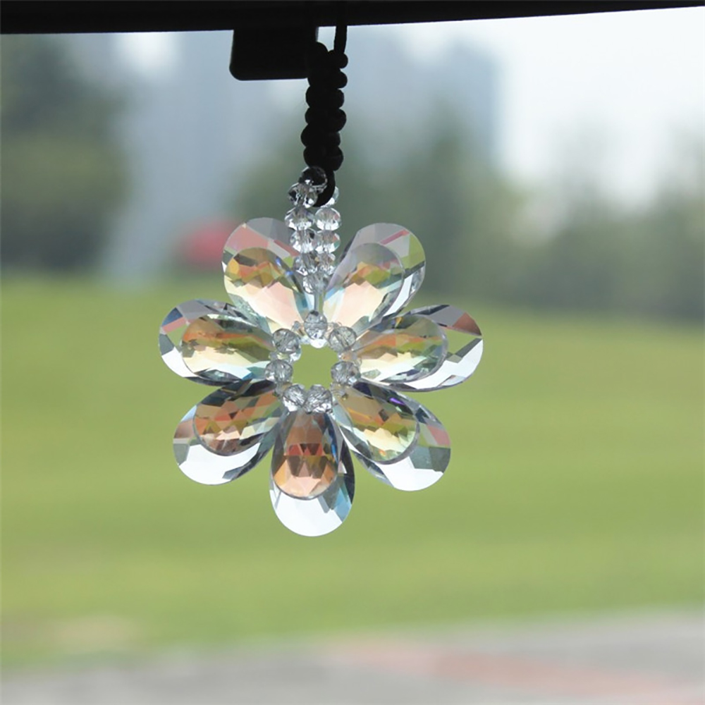 Car Pendant Decoration Artificial Crystal Flower Automotive Hanging Ornament Auto Interior Rearview Mirror Suspension Trim Decor car pendant lucky cat car rearview mirror decoration ceramics alloy hanging ornament automobile dashboard accessories gift 60cm