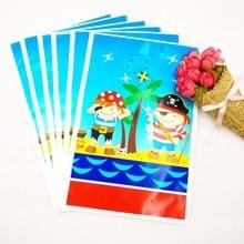 6pcs/bag Cartoon Pirate Theme Boy Girl Baby Happy Birthday Party Decoration Decorations Kids Loot Bag Gift