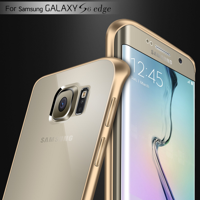 sports shoes 13604 df3cd US $4.71 |For Samsung S6 Edge Cases Fashion Ultra Thin Metal Aluminum Frame  Case For Samsung Galaxy S6 Edge G9250 Crystal Clear Back Cover on ...