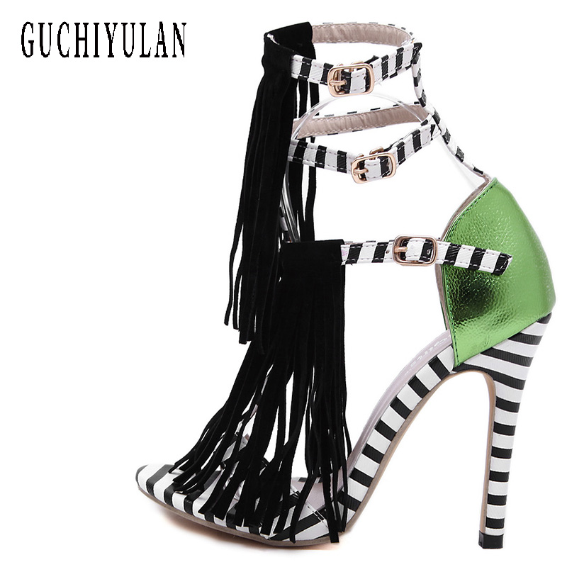 2018 Summer Sandals Women High Heels Fringe Gladiator Sandals Women Lace Up Shoes Woman Flock Sexy Green Ladies Sandals brand shoes woman flock gladiator sandals women summer dress shoes lace up high heels fringe beach casual shoes ladies sandals
