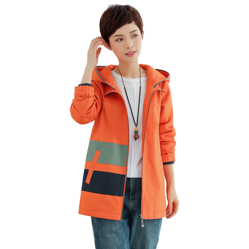 Oversized 2019 New Spring Autumn Women's Windbreaker Hooded Coats Loose Long Sleeve Outerwear Casual Female   Trench   Coat 5XL
