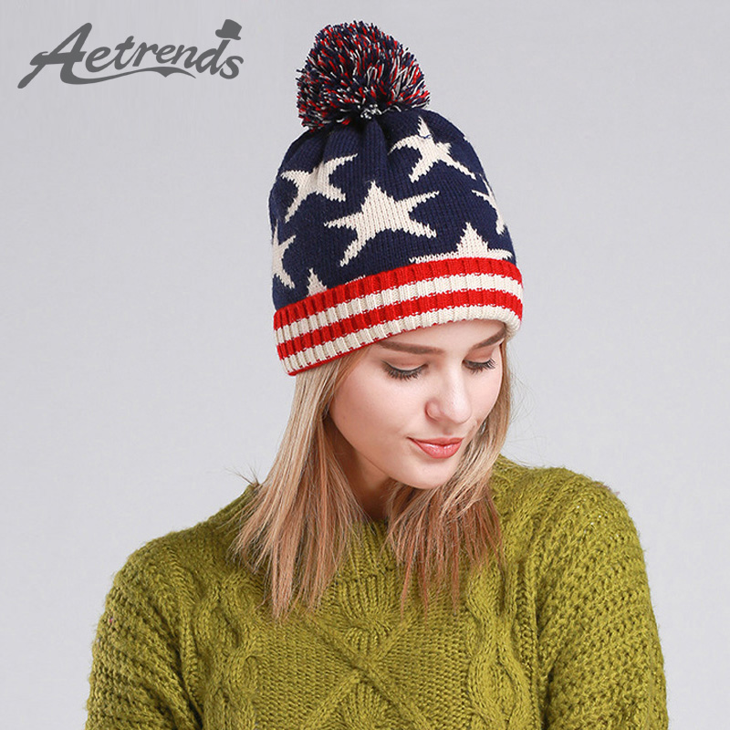 [AETRENDS] 2017 Autumn Winter Beanie Hats for Women and Men Star Beanies Winter Caps Z-3087
