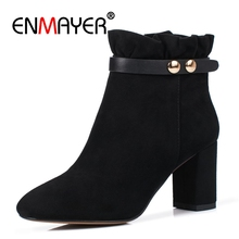 цены ENMAYER Suede Women Ankle Boots Round toe Square Heel Shoes Winter Genuine Leather 7cm High Heels Lace Metal Zipper Buckle CR614